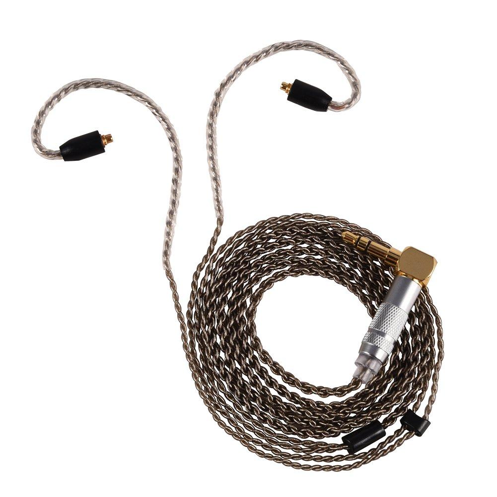 3.5mm Earphones Headphone Cable, Pure Copper MMCX Connector Auxiliary Audio Cable (4ft/1.2m) for Shure SE215 SE535 SE846 Headphone (Black Bent Head) Zerone