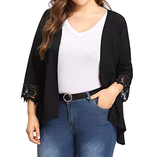ca125622b8 Women's Plus Size Open Front Cardigan Lace Casual Lightweight Loose Blazer  Jacket Summer Outerwear at Amazon Women's Clothing store: