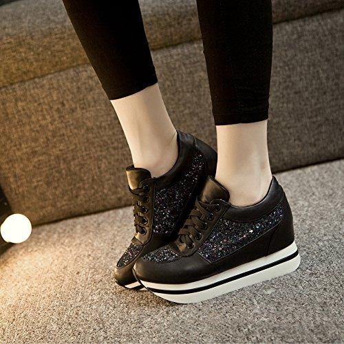 Giy Moda Donna Sneaker Punta Arrotondata Maggiore Altezza Zeppa Piattaforma Stringate Scarpe Casual Nere