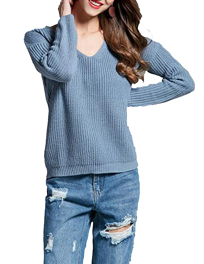 f1bc8280c7daa GloryA Women Pullover Knit Sexy Pure Color V-Neck Simple Jumper Sweater at  Amazon Women s Clothing store