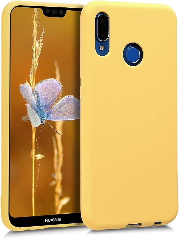 kwmobile Coque Compatible avec Huawei P20 Lite - Coque Housse Protectrice pour Téléphone en Silicone Jaune Mat
