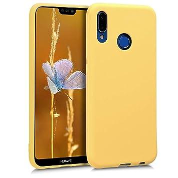 kwmobile Funda para Huawei P20 Lite - Carcasa para móvil en TPU Silicona - Protector Trasero en Amarillo Mate
