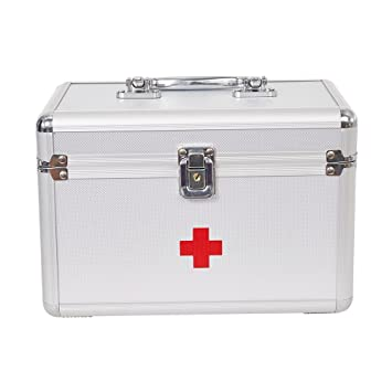 Dporticus First Aid Kit Lockable First Aid Box Security Lock Medicine  Storage Box with Portable Handle for