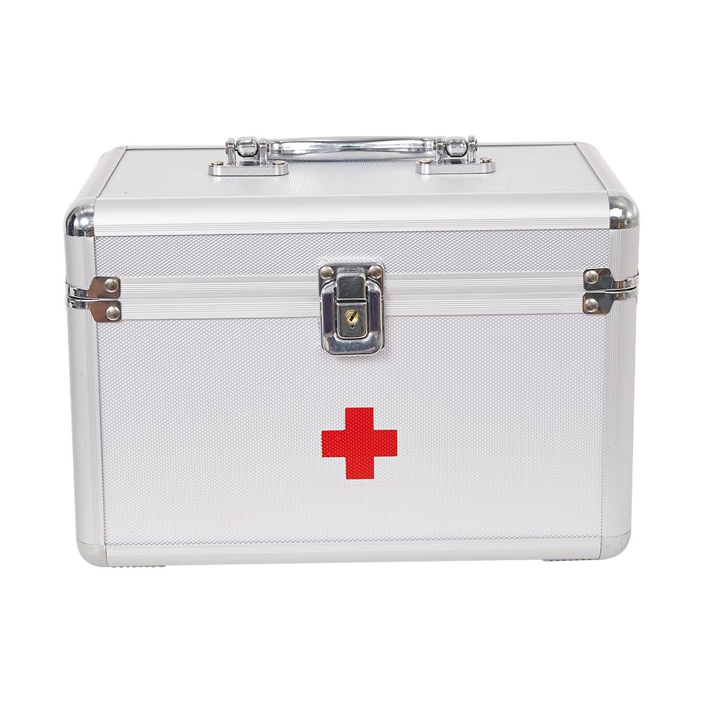 Dporticus First Aid Kit Lockable First Aid Box Security Lock Medicine Storage Box with Portable Handle for Car, Home, Travel, Camping, Office or Sports