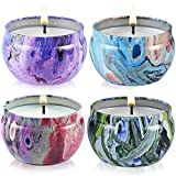 Scented Candles Jasmine, Vanilla, Lavender, Rose Naturals Soy Wax Protable Travel Tin Candle for Aromatherapy,Set of 4