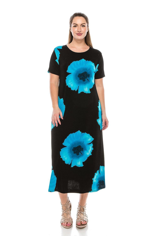 W113 Turquoise Jostar Women's Stretchy Long Dress Short Sleeve Print