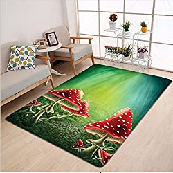 Kisscase Custom carpet Green Flowers and Mushroom Decor Shrooms in Enchanted Forest Magical Mystery Path in Fairy Land Room Kids Room Art Green Red