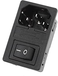 uxcell Inlet Male Power Socket Fuse Holder with Rocker Switch 10A 250V 3Pin IEC320 C14