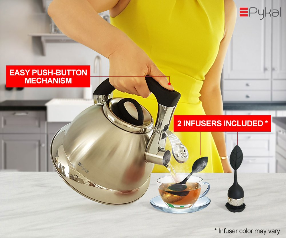 Whistling Tea Kettle with iCool - Handle, Surgical Stainless Steel Teapot for ALL Stovetops, 2 FREE Infusers Included, 3 Quart by Pykal by Pykal (Image #3)