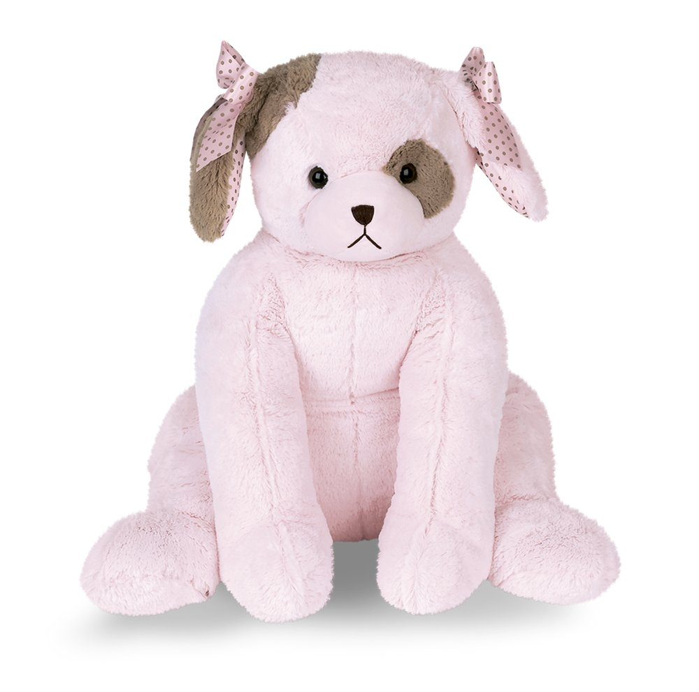 Bearington Baby Cuddly Wiggles Large Stuffed Animal Puppy (Pink), 30''