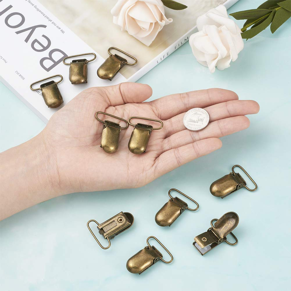 Kissitty 40pcs Antique Bronze Pacifier Suspender Clips 35x15mm 1.38x0.6inch for Making Pacifier Holders Bib Clips Toy Holder Dog Suspenders
