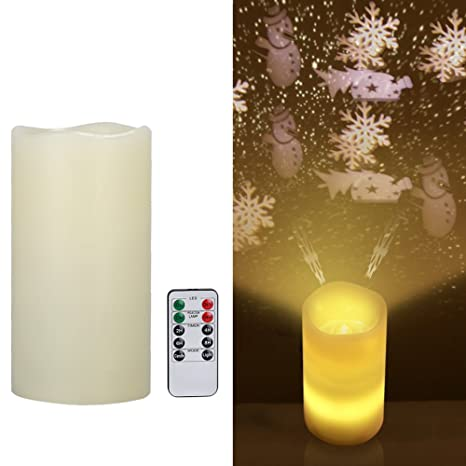 Lámpara de proyector de vela, Navidad muñeco de nieve LED velas ...