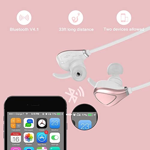 Bluetooth Headphones, Wireless Sports Running Headphones with Mic Lightweight Stereo Earbuds Magnetic Sweatproof in-Ear Earphones for Gym Work Out Compatible iPhone 7 7 Plus Rose Gold