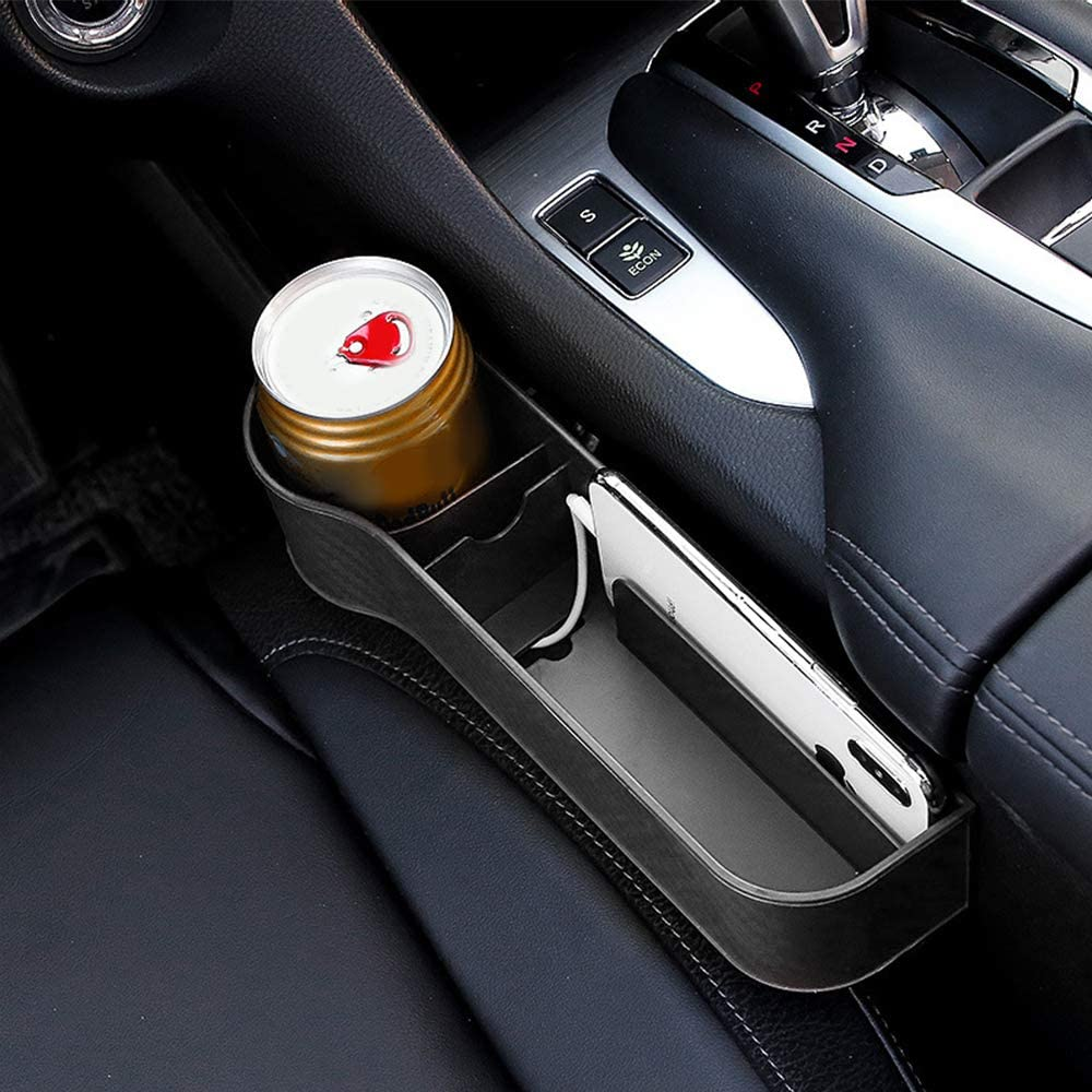 MY Car Seat Gap Filler 2 Pack Multifunctional with Cup Holder,Console Side Pocket for Cellphone,Wallet Premium Carbon Fibre Black No Deformation Various Cards