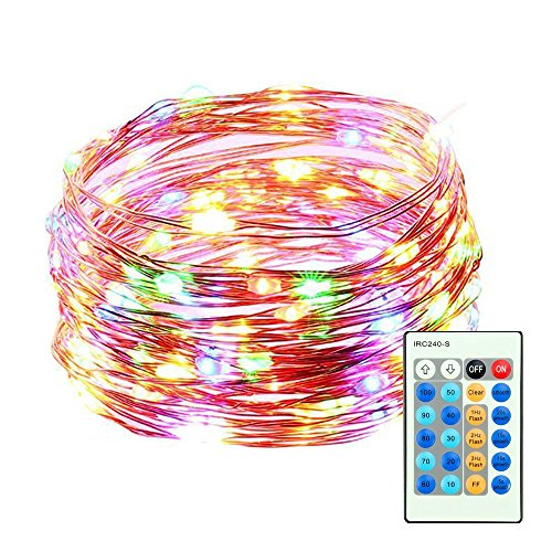 Cooper Wire Wrap (Mxsaver Dimmable Colorful LED Copper Wire String Lights with Remote (Waterproof, 65.6ft, Multi-colors, Updated))
