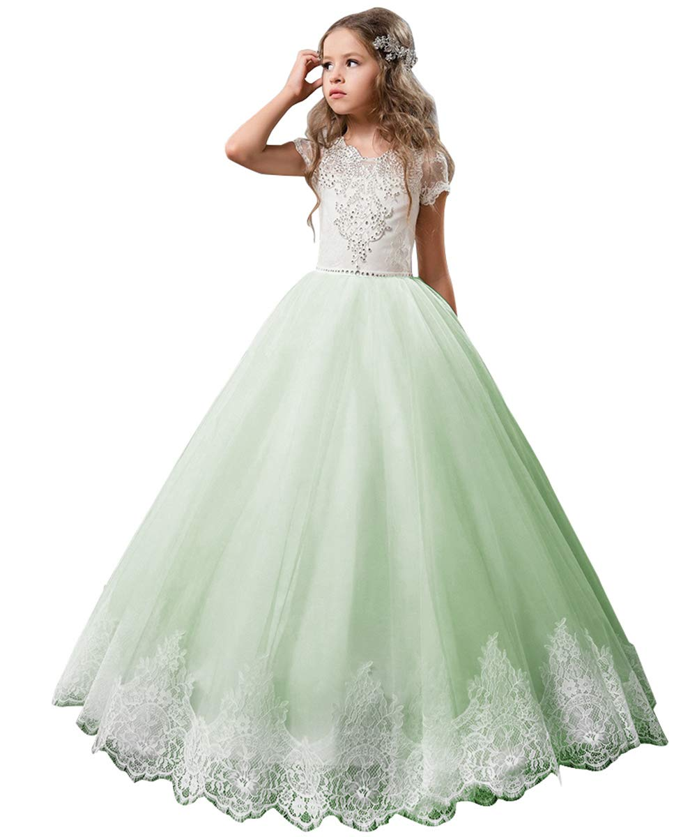 cbd3c5663 Galleon - Flower Girl Dress Kids Lace Beaded Pageant Ball Gowns (Size 10,  Green)