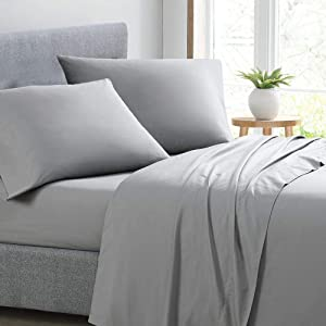 Royal Home Collection 650 Thread Count Bed Sheet Set 26 Inch Extra Deep Pocket Queen Bed Size, Silver Gray Solid 650TC 100% Cotton
