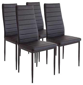 Albatros Milano - Set de 4 sillas de Comedor, Estructura metálica y ...