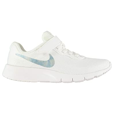 Official Nike Tanjun Trainers Child Girls White Blue Shoes Footwear ... c7d8fe77cfa