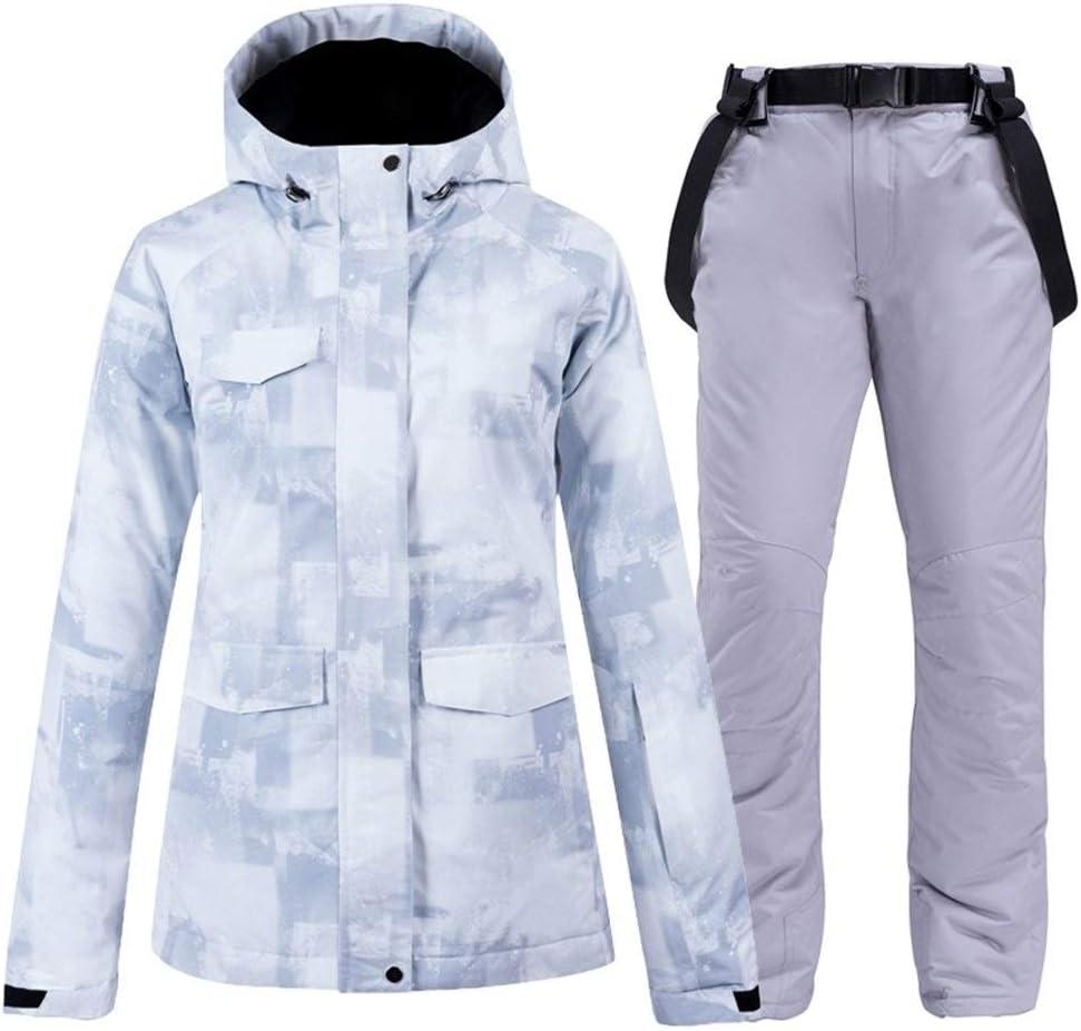 Sceliny 2019年の女性のスキースーツスキージャケットパンツスノーボード服防風防水屋外スポーツは、女性の冬のフード付きの暖かいを着用してください (色 : 15, サイズ : L)