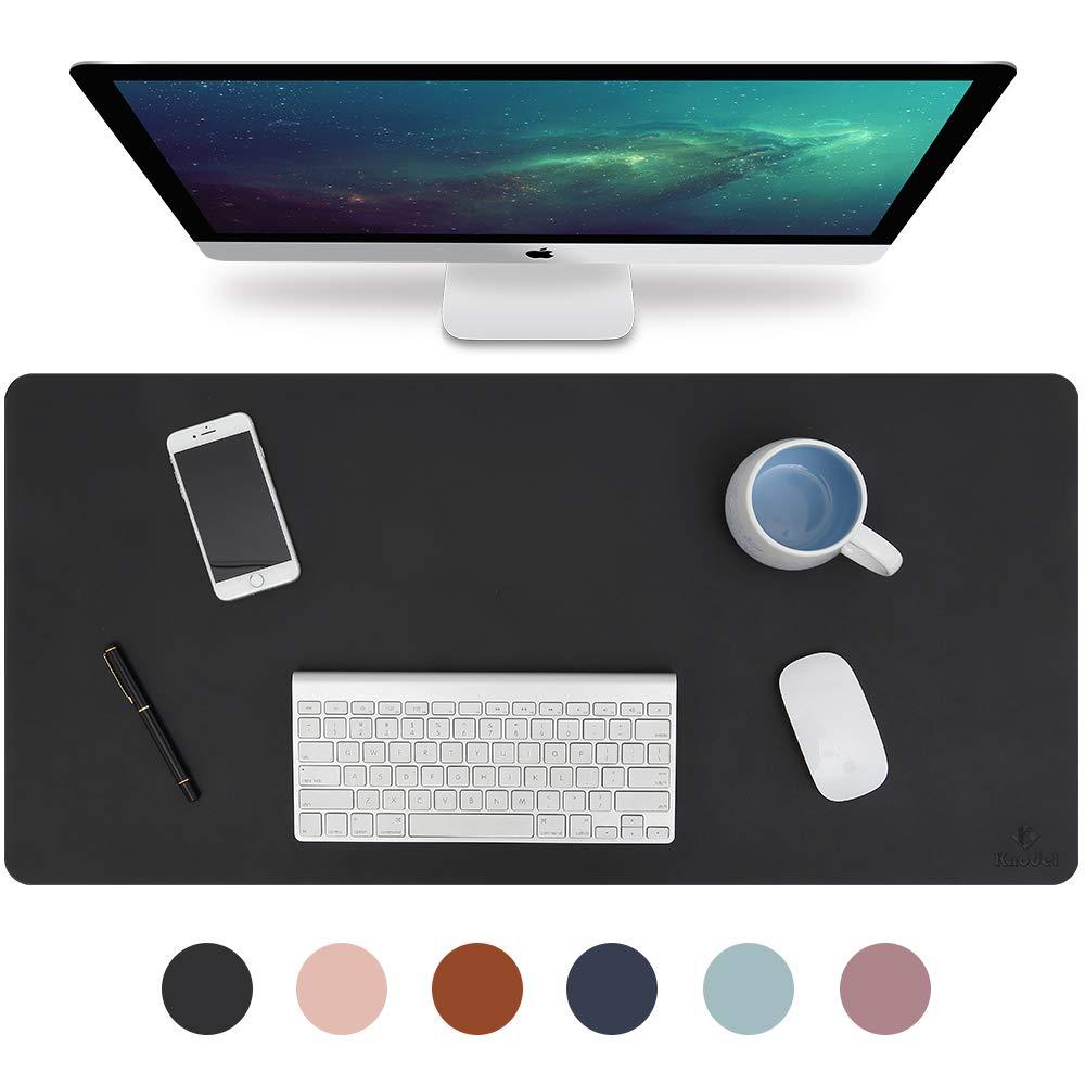 "Knodel Desk Pad, Office Desk Mat, 35.4"" x 17"" PU Leather Desk Blotter, Laptop Desk Mat, Waterproof Desk Writing Pad for Office and Home, Dual-Sided (Black/Black)"