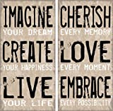 Artissimo Designs, Imagine Create Live, 23348CMBG0, 2-Piece Sign Image, Two 12-Inch by 24-Inch Printed Canvas
