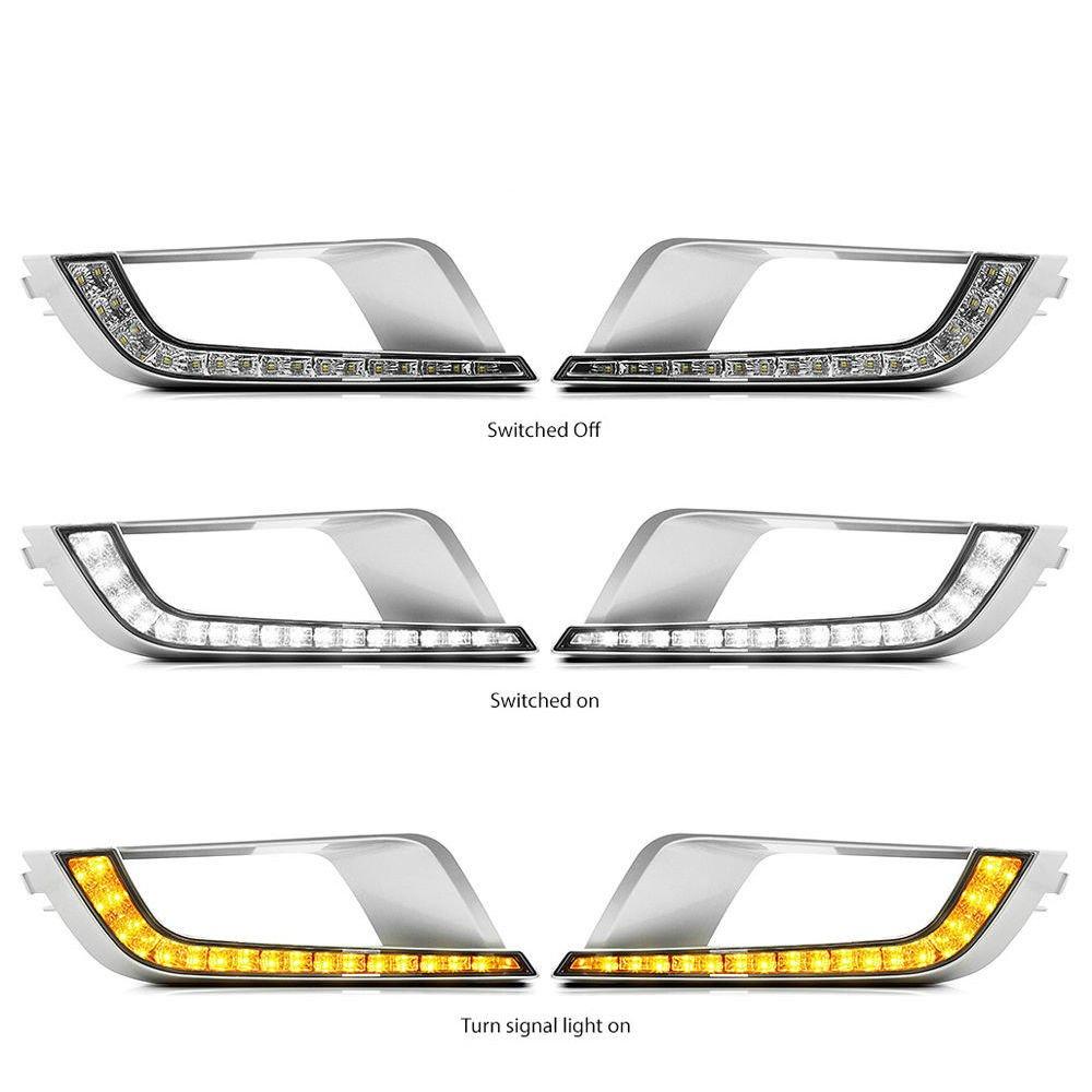 MotorFansClub LED DRL Daytime Running Light Fog Lamp for Ford Ranger Px2 Mk2 Wildtrak 2016 2017 Amber Yellow LED as Turn Signals (White+Yellow)
