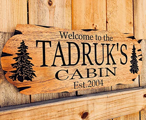 Personalized Cabin Sign Outdoor Wood Sign Welcome Sign Rustic Decor -
