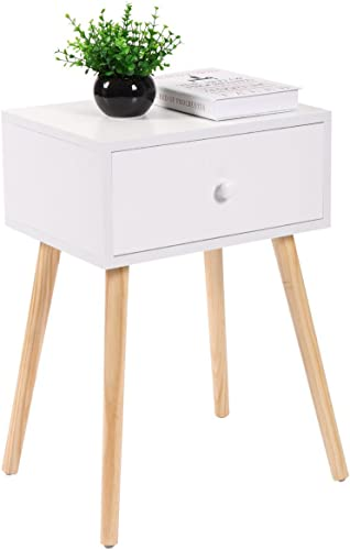 Sandinrayli White Mid Century Modern Side End Table Nightstand w/ Drawer 23.1″H