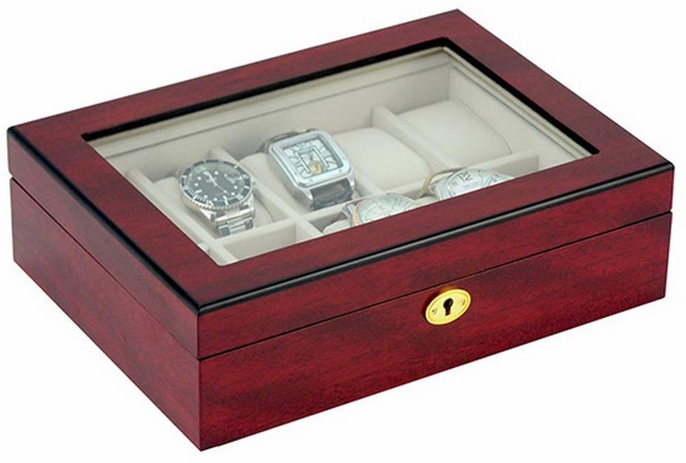 Cherry Brown 10 Piece Matte Wooden Watch Box by Kennett
