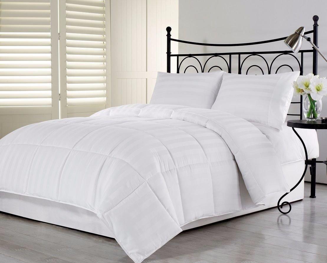3Pcs Hotel Stripe Goose Down Alternative Comforter Set, White, Full/Queen