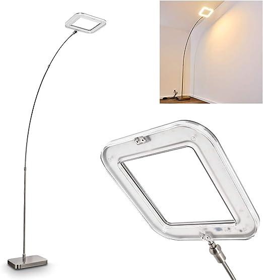 Lámpara de pie LED de metal en níquel mate, para salón, dormitorio ...