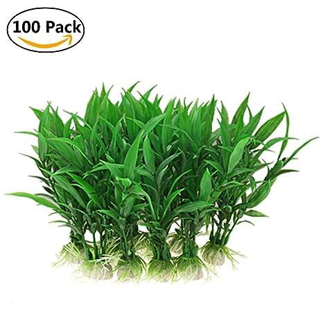 Myfei Acuario Paisaje Verde Plantas Plantas Plástico Césped Decoración, 100 unidades