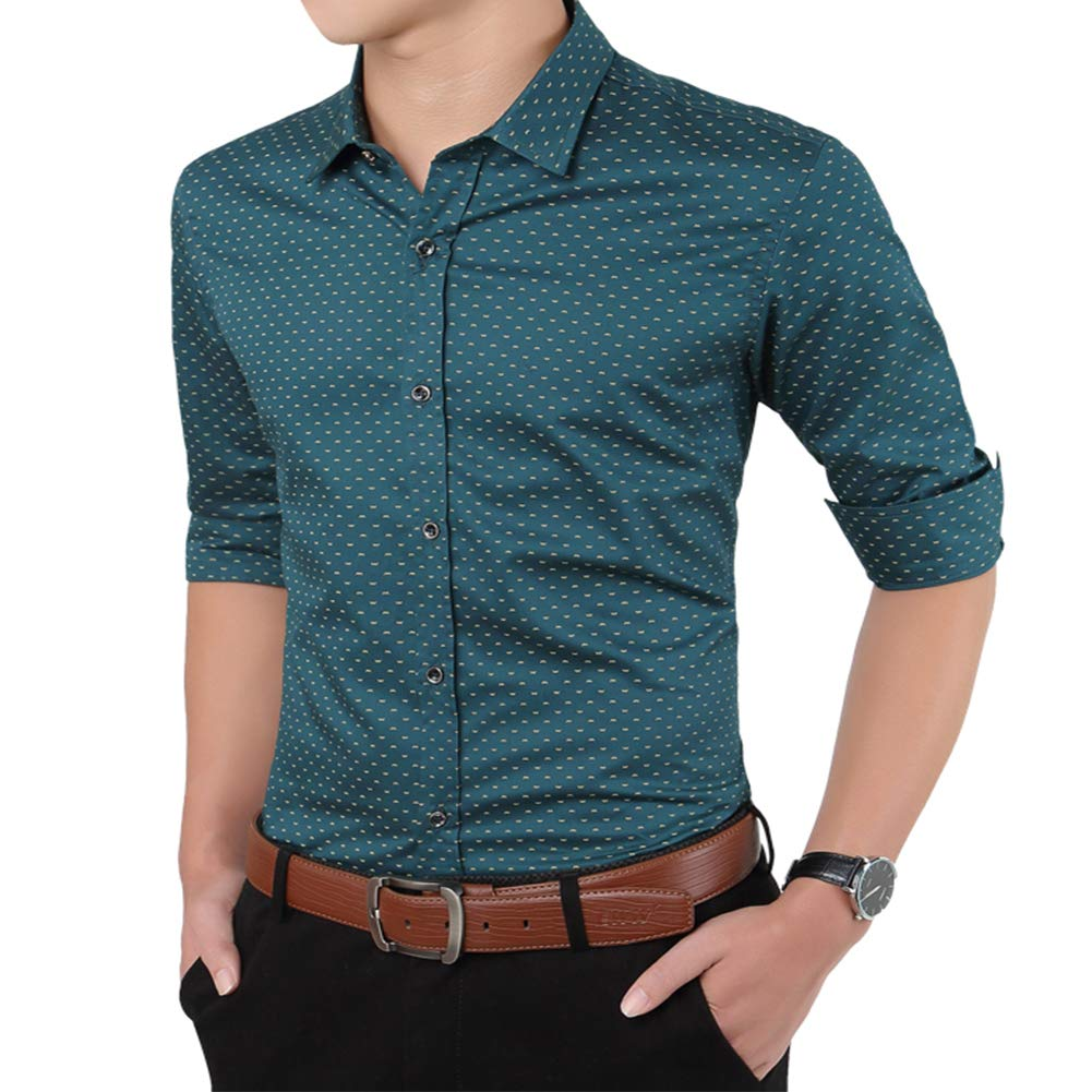 Zyfmaily Mens Long Sleeve Button Up Point Collar Cotton Printed