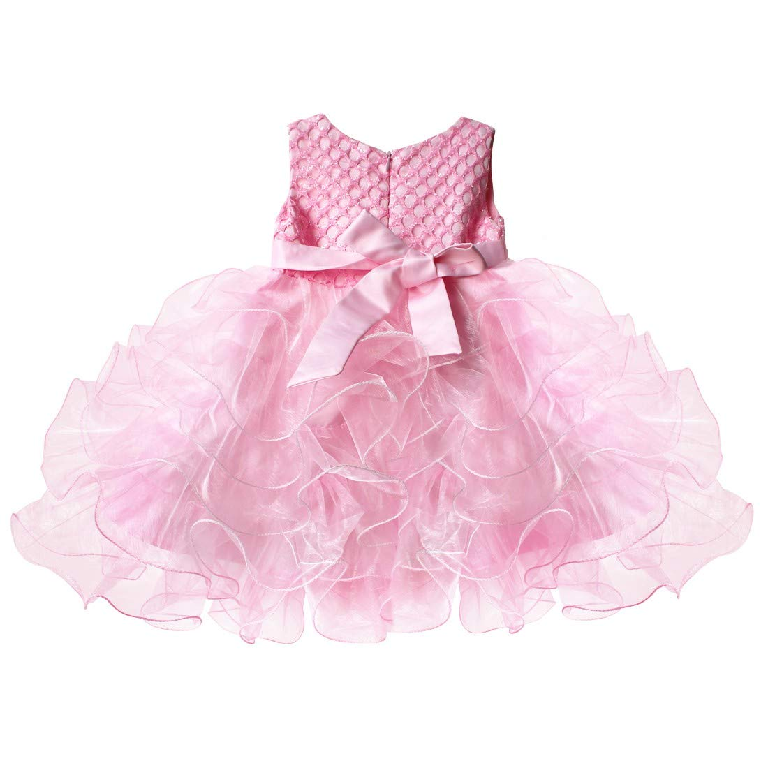 Agoky Baby Girls Sleeveless Beading Princess Flower Girl Dress Bubble Skirt for Wedding Party Pageant 3 Months 4 Years