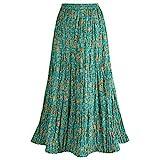 Women's Peasant Skirt - Traveler's Reversible Long Cotton Green Skirt - Medium