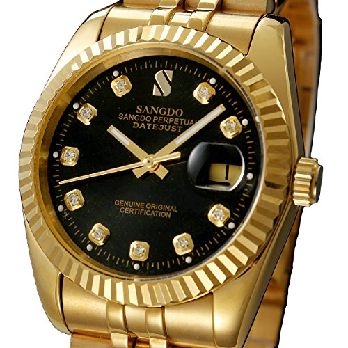 Men's Watches Diamond with Black Dial 18K Gold Plated Stainless Steel Band Automatic Mechanical Bracelet Watches ()