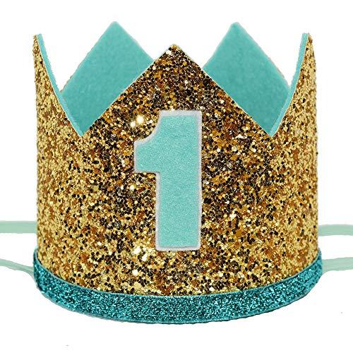 Maticr Glitter Baby Boy First Birthday Crown Number 1 Headband Little Prince Princess Cake Smash Photo Prop (Large Gold & Mint 1) ()