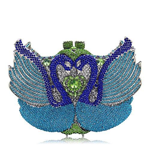 Gold Crystal Soirée Soirée Haute de Swan Luxe Qualité Femmes Color Bourse Blue Sculpt Strass Pochette De Sac Dark 4Cf1q