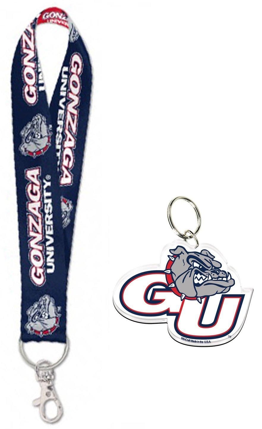 WinCraft Bundle 2 Items: Gonzaga University Bulldogs 1 Key Strap Key Chain and 1 Premium Key Ring/Zipper Pull