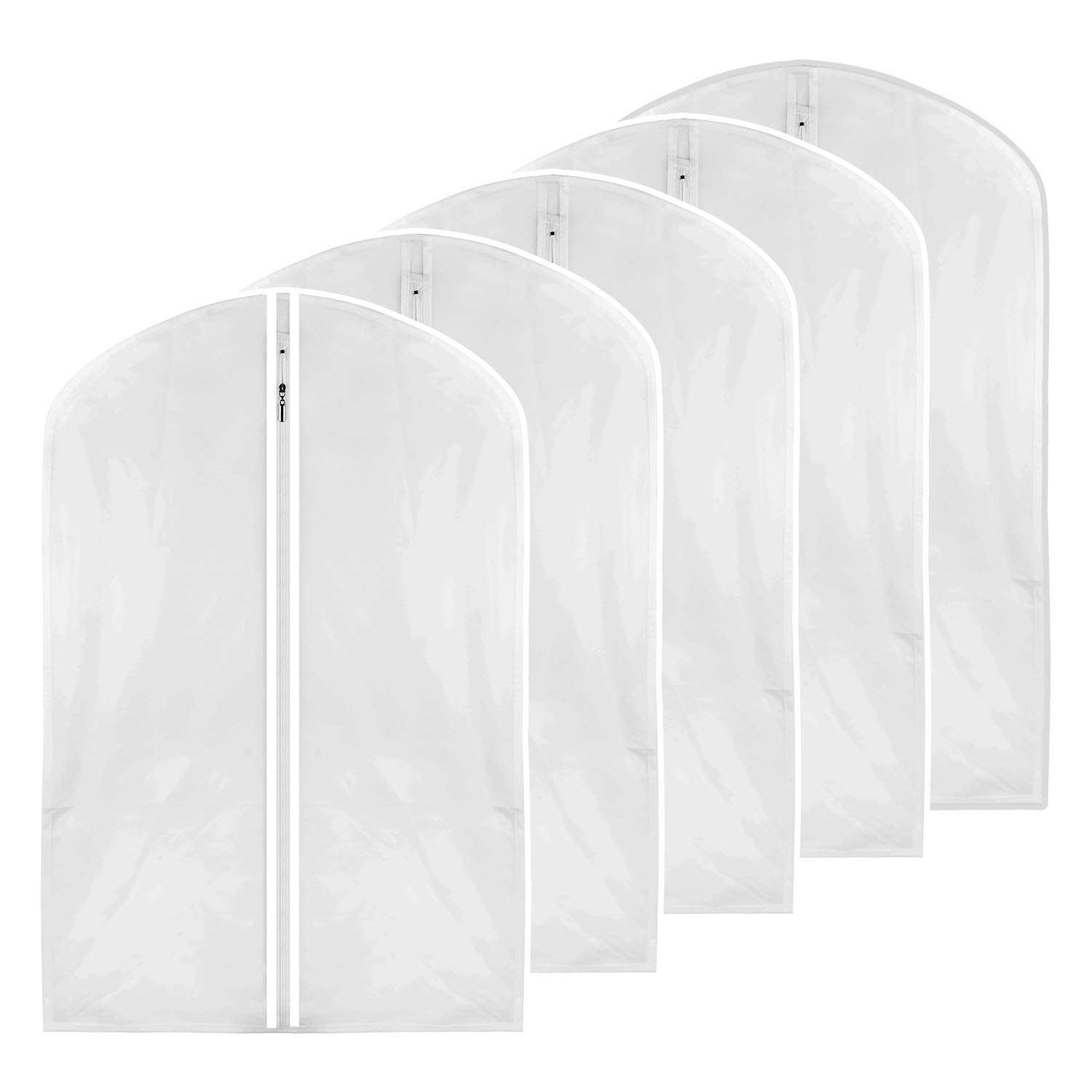 M MOACC Small Garment Bag,Clear Dance Costume Cover for Kids Moth Proof Full Zipper Light Weight,Set of 5