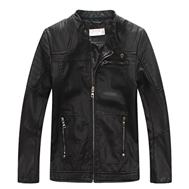 6209997d2 Image Unavailable. Image not available for. Color: LJYH Boys' Faux soft Leather  Jacket Outerwear Biker Jacket Black 3-4years
