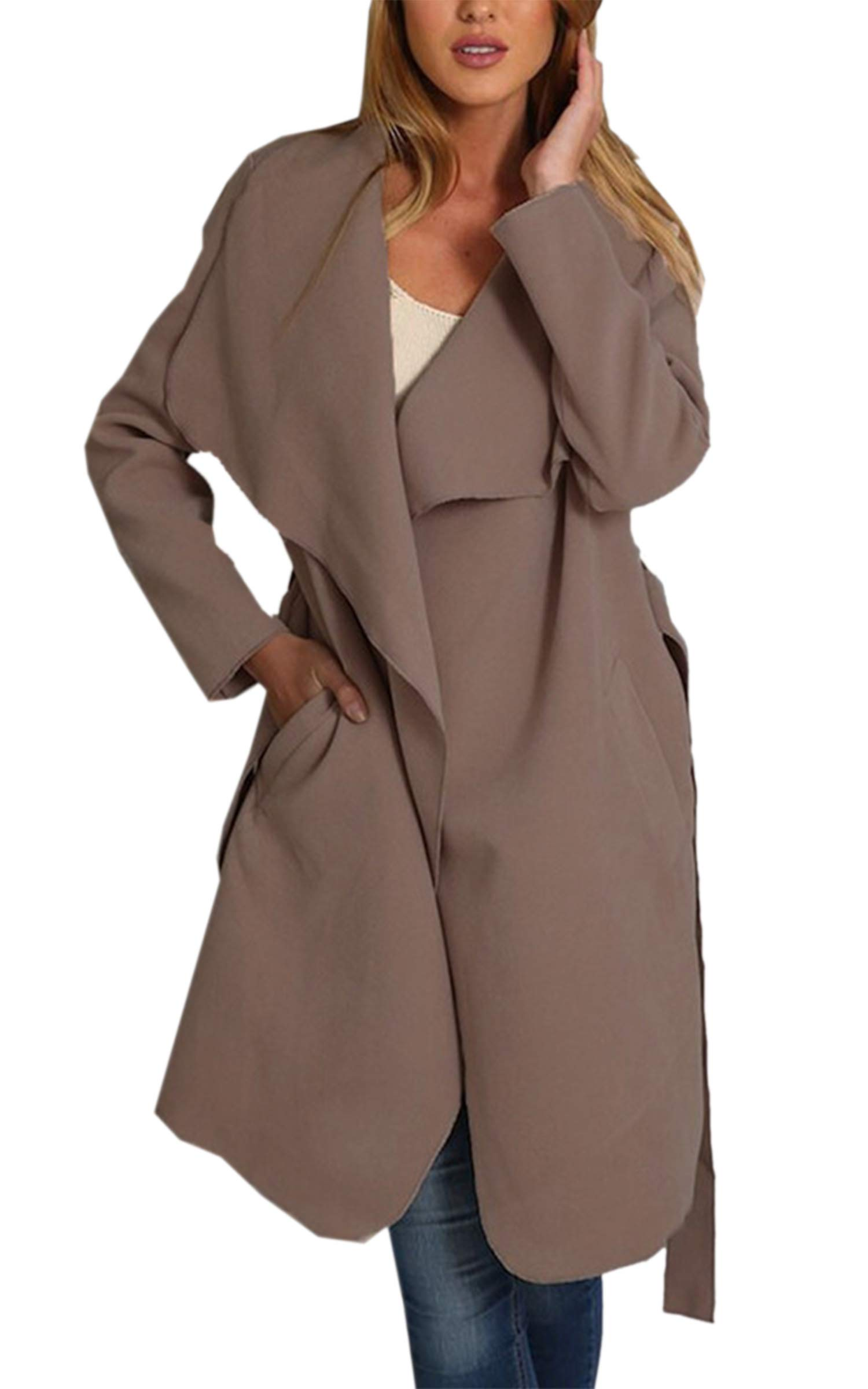 Angashion Women's Casual Long Sleeve Lapel Pocket Outwear Trench Coat Cardigan with Belt Khaki S
