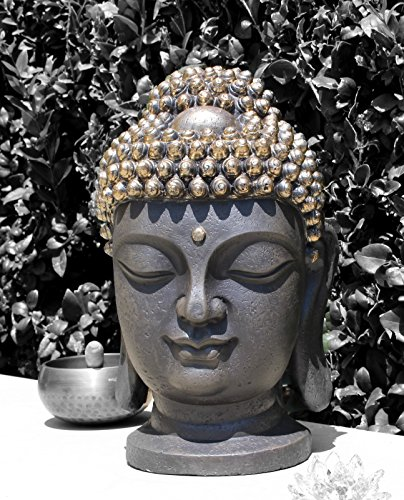 """We pay your sales tax Large 16"""" Tall Buddha Shakyamuni Head Statue 释迦摩尼佛 - Smiling Meditating Buddha Blessing Mercy & Love Peaceful Statue India (G16643) Chinese Feng Shui Idea"""