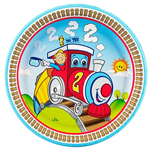 2nd Birthday Train Party Supplies - Dinner Plates (8) Train Party Plates