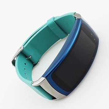 Pinhen Samsung Gear Fit 2 Correa Cuero Genuino Pulsera de Acero Inoxidable Elegante Correa de la Venda del Reloj para Samsung Gear FIT2 SM-R360 ...