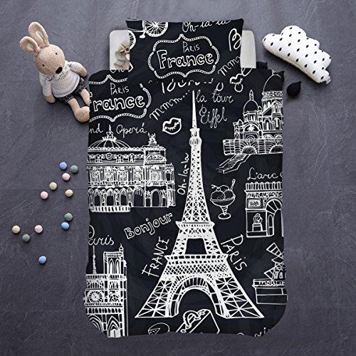 ARIGHTEX Eiffel Tower Duvet Cover 2 Piece Boys Girls Paris Theme Bedding Sets France Bonjour Black White Retro Bedspread (Single) ()