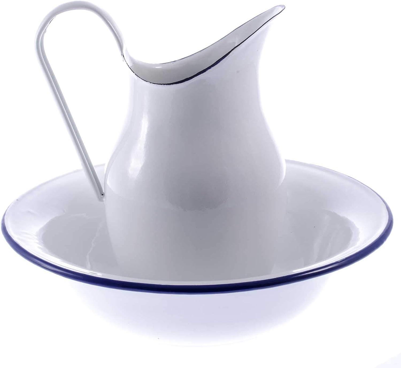 Krug Shabby Sch/üssel SIDCO Waschsch/üssel Kanne Wasch-Set Vintage 2 TLG blau
