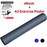 ResultSport® Alpha+ Foam Roller - FREE Ebook and A3 Poster - Ideal for Yoga, Pilates, Myofascial Release, Muscle Pain relief, IT Band, Trigger Point Massage, Stiffness Relief