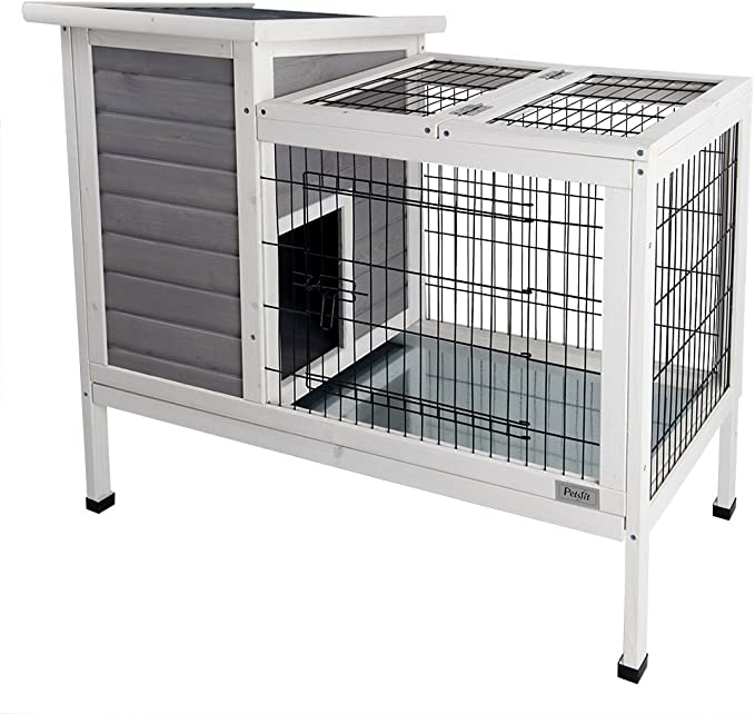 Amazon Com Petsfit Rabbit Hutch Grey Guinea Pigs Cage Bunny Hutch Wood For Indoor Use Pet Supplies
